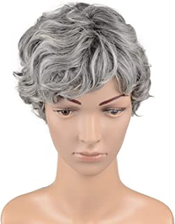 Hawkko Curly Short Cosplay Women Wig Kanekalon Fiber Party Wigs, Granny Gray