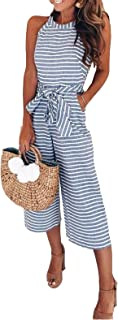 Women Sleeveless Striped Waist Belted Wide Leg Capri Pants Jumpsuit