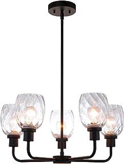 XiNBEi Lighting Chandeliers, Black Chandelier 5 Light,...