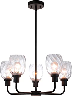 XiNBEi Lighting 5 Light Chandeliers, Pendant Chandelier Lights with Clear Glass, Matte Black Finish XB-C1210-5-MBK