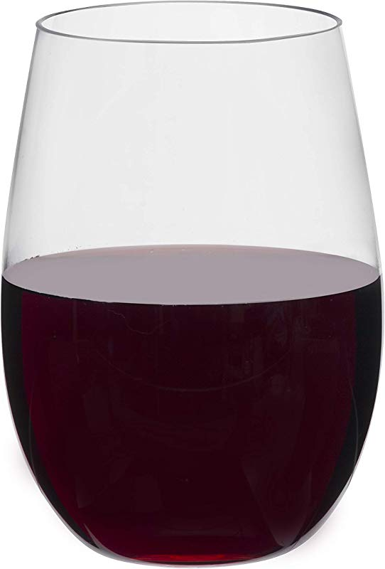 Toasted Drinkware 4 Pack Premium Stemless Clear 16 Oz Plastic Wine Glasses BPA Free