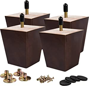 6 inch Wooden Furniture Legs, La Vane Set of 4 Solid Wood Square Walnut Mid-Century Modern M8 Replacement Bun Feet with Pre-Drilled 5/16 Inch Bolt & Mounting Plate & Screws for Couch Sofa Armchair