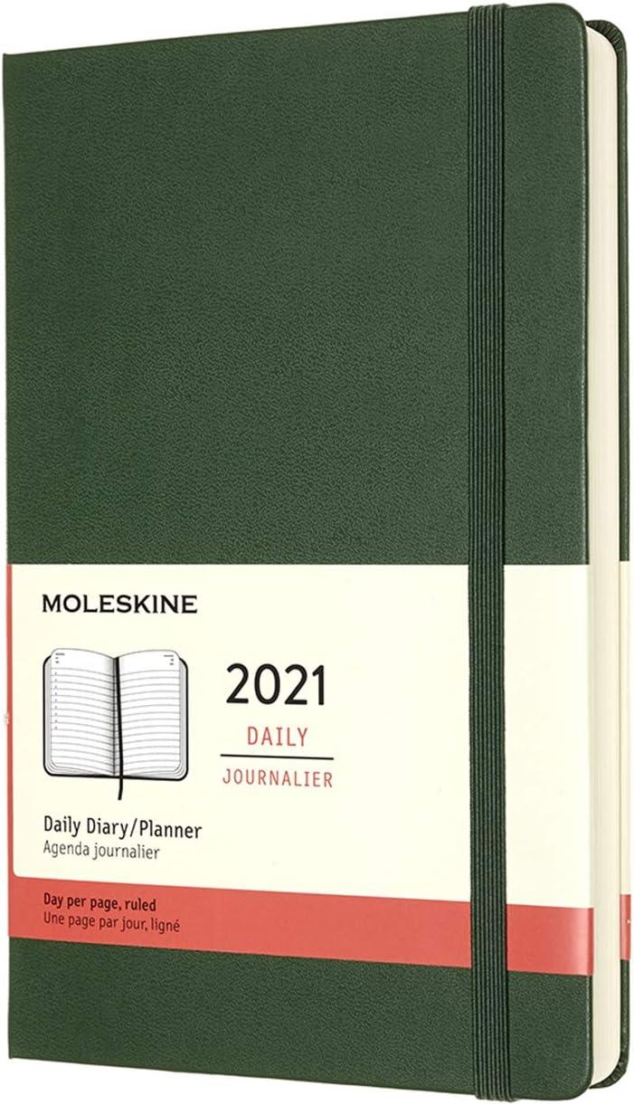 agenda diaria tapa dura 12 meses 2021 moleskine 21x13cm verd