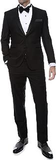 Ferrecci Men's Debonair Black Slim Fit Peak Lapel Collar 2 Piece Tuxedo Suit Set - Tux Blazer Jacket and Pants