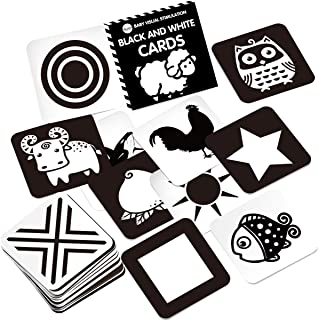 Youwo Black and White Flash Card for Baby 24 Cards 48 Pages 5.4'' x 5.4'' Baby Visual Stimulation High Contrast Baby Card ...