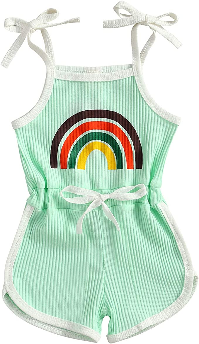 60s 70s Kids Costumes & Clothing Girls & Boys Toddler Baby Girl Sleeveless Halter Jumpsuit Ribbed Romper Shorts Playsuit Rainbow Outfit Cute Summer Clothes  AT vintagedancer.com