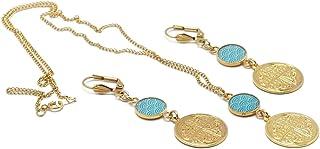 LUCK set collana orecchini giappone seigaiha onde mare turchese ottone trefle oro 24k riempito 14k resina regali di natale...