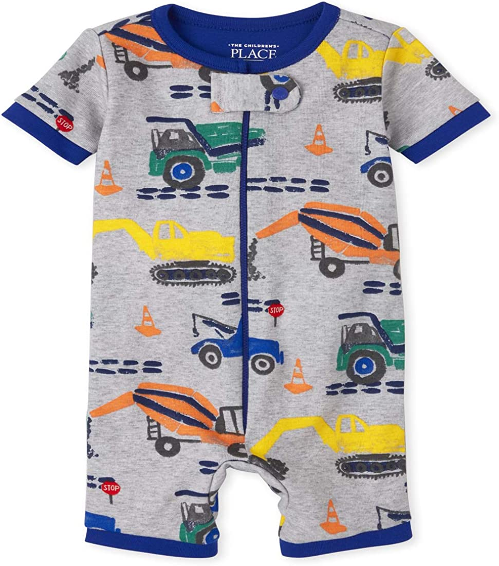 The Children's Place Baby And Toddler Boys Construction Snug Fit Cotton Cropped One Piece Pajamas
