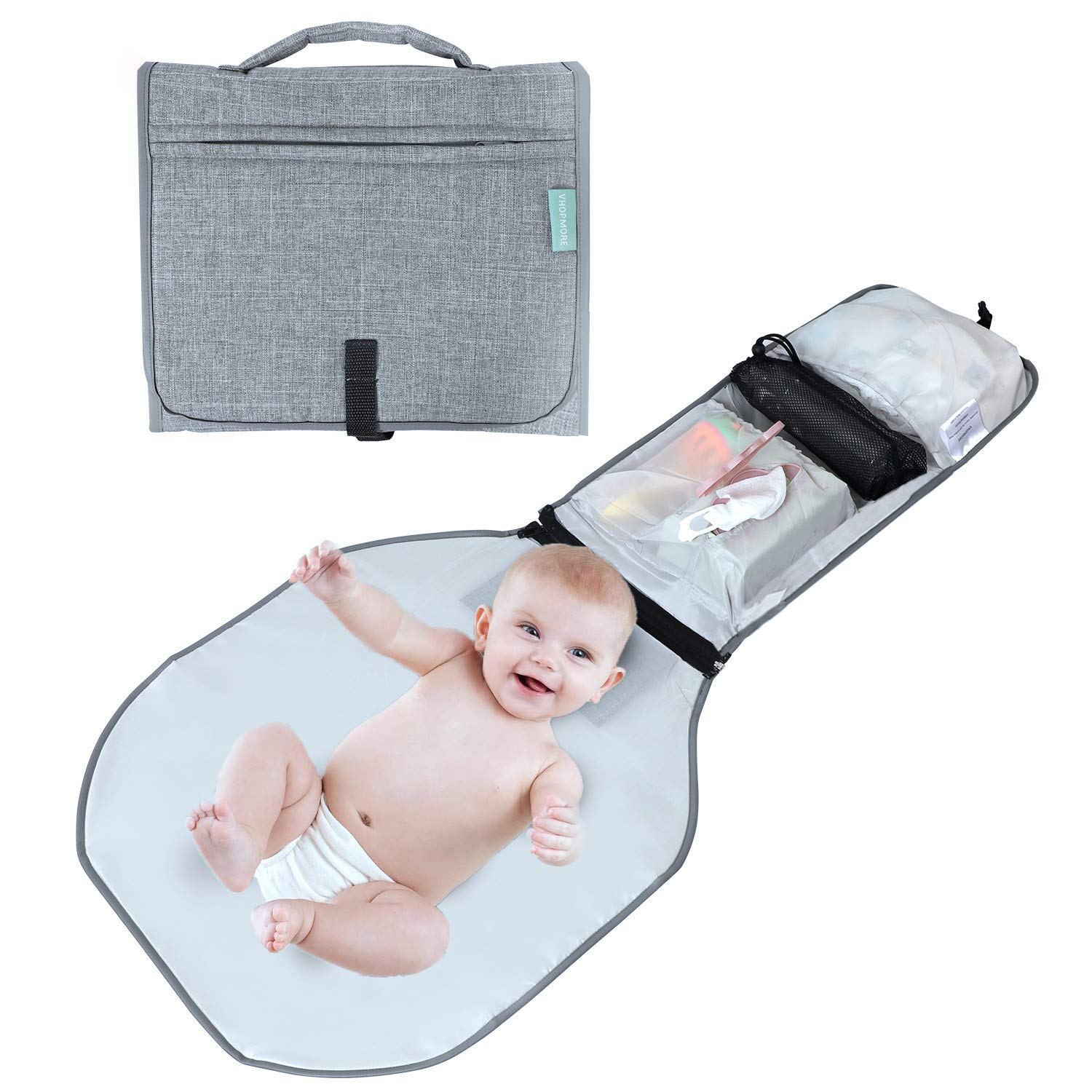 Baby Portable Changing Pad, VHOPMORE Detachable Waterproof Changing Mat with Head Cushion and Pockets, Baby Travel Diaper Bag Changing Station Kit Baby Shower Gift for Newborn Boy & Girl