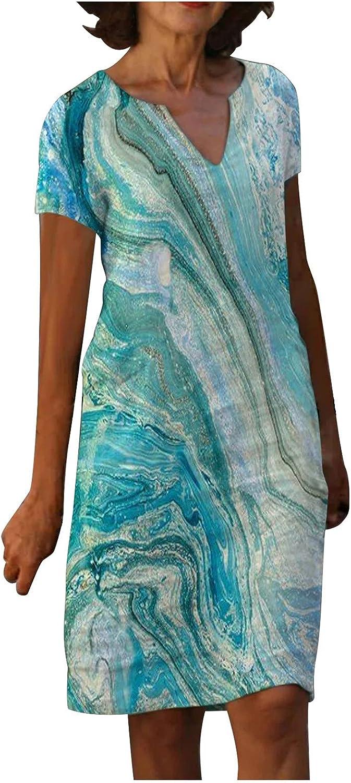 Women's Casual Summer Dress 2021 O Neck Short Sleeve Casual Sundress Floral Long Maxi Dresses 192