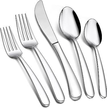 Heavy Duty Silverware Set for 8, E-far 40-Piece Stainless Steel Flatware Cutlery Set, Elegant Design Tableware Eating Utensil