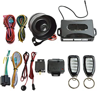 BANVIE 1-Way Car Security Alarm System with Keyless Entry, Two 5-Button Remote Transmitters