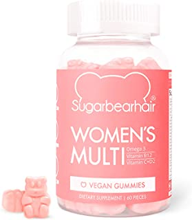SugarBearHair Women's Multi Vegan MultiVitamin with Glutathione, Vegan Omega-3, Folate, Vegan Collagen Booster Blend (1 Mo...