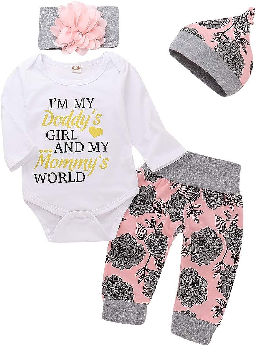 Newborn Infant Baby Girls Ruffle Romper+Stripe Pants Headbands Outfits Set