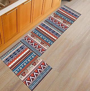 Ommda Antypoślizgowy zmywalny geometryczny nadruk dywan chodniki wycieraczka dywaniki kuchenne i maty do wejścia 60 x 90 c...