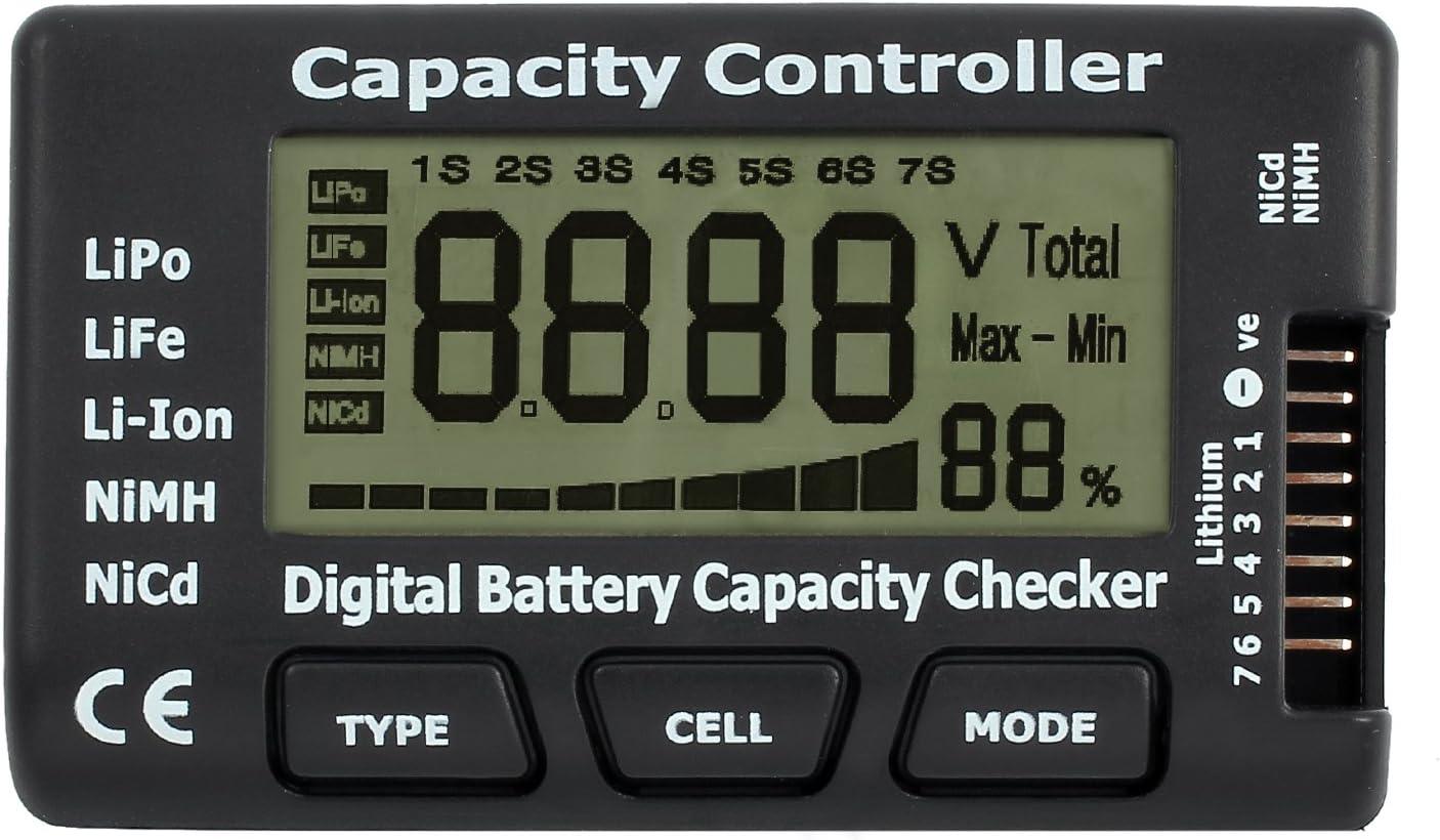 Rhinoco LCD Battery Capacity Voltage Checker Controller Tester for LiPo LiFe Li-ion NiMH