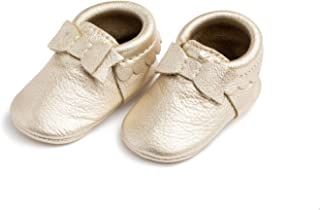 Freshly Picked - Rubber Mini Sole Leather Bow Moccasins - Toddler Girl Shoes - Multiple Colors