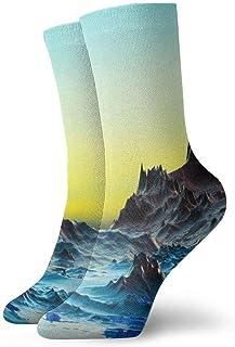 tyui7, Calcetines de compresión antideslizantes de paisaje de agua fría 3D Calcetines de equipo de 30 cm acogedores y atléticos para hombres, mujeres, niños