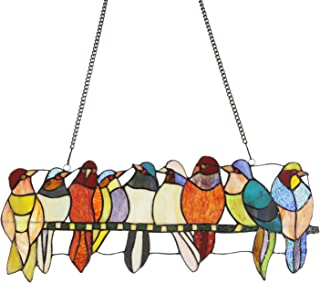 MELUCEE Stained Glass Panel Window Hanging 9 Birds 22.8 Inches Wide with Chain