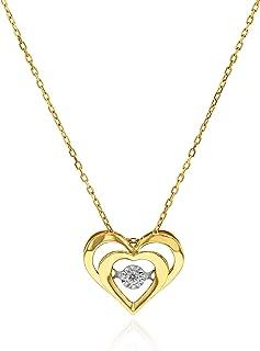 AL Liali Jewellery Women's Heart In Heart Diamond Pendant, 0.029 Carat, Yellow