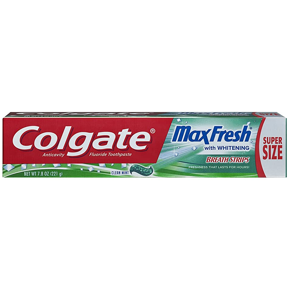 Colgate Max Fresh Whitening Toothpaste with Breath Strips - Clean Mint, 7.8 ounce