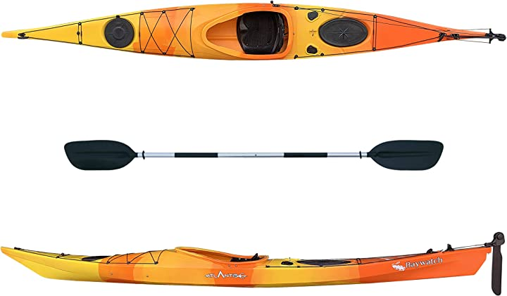Kayak-canoa baywatch - cm 450- timone - 1 seduta - 2 gavoni - 1 pagaia colore arancio/gialla atlantis B08KGL5YXB