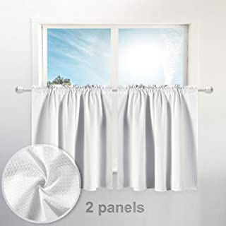 "Waffle Weave Half Window Tier Curtains: 36 Inch Short Length for Small Window in Kitchen & Bathroom, Waterproof and Washable - White, 36""x36"" for Each Panel, Set of 2"