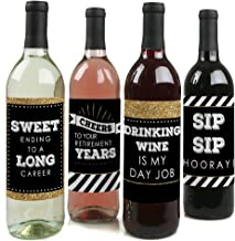 Happy Retirement - Retirement Party Decorations for Women and Men - Wine Bottle Label Stickers - Set of 4
