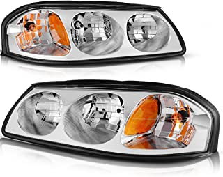For 2000-2005 Chevy Impala Headlight Assembly OE Style Replacement Headlamps Chrome Housing Amber Reflector Clear Lens