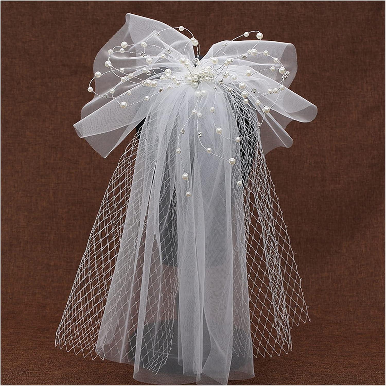 xunyang Women Bride Mori Girl Lace Wedding Soldering Super-cheap Veil P Mesh Beads Bow