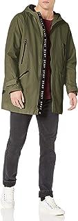 DKNY mens Midlength Hooded Taslan Parka Jacket Rain Jacket