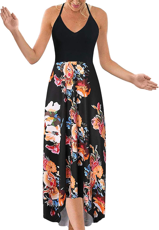 Womens Floral Splicing Mid Calf Dress Summer Casual Halter Tank Dress Sleeveless Backless Beach Party Swing Dress