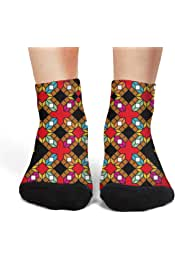 XIdan-die Womens Over-the-Calf Tube Socks White Blace Colorful Cubes Moisture Wicking Casual Socks