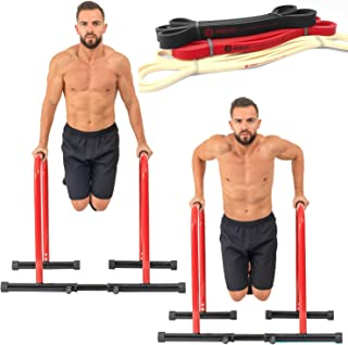 GoBeast Dip Stand with 3 Resistance Bands and Stability Bar , Adjustable Height and Width, Easy Release Locking Pin, Max User Weight 330lbs / 150 kilograms