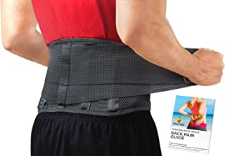 Back Brace by Sparthos - Immediate Relief for Back Pain, Herniated Disc, Sciatica, Scoliosis and more! – Breathable Mesh Design with Lumbar Pad – Adjustable Support Straps – Lower Back Belt [Size Med]