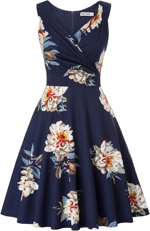 GRACE KARIN Women's Sleeveless V-Neck Wrap Cocktail Dress Vintage Floral A-line Dress
