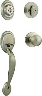Kwikset Dakota Single Cylinder Handleset with Polo Knob featuring SmartKey in Satin Nickel - 96870-090