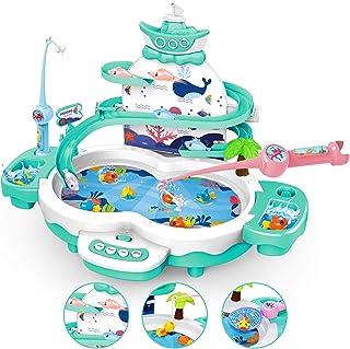 LBLA 4 en 1 Juego de Pescar para Niños, Juegos Educativos & Interactivo, Juguetes de Pesca con Música, Piscina y Cañas de ...