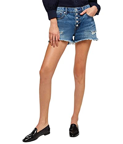 7 For All Mankind Monroe Cutoffs Exposed Buttons in Pisces Blue Rigid (Pisces Blue Rigid) Women