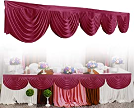 GEMITTO Wedding Backdrop Swag, Window Background Valance, Removable Ice Silk Window Decorative Curtain for Party Wedding Stage Home Decoration Event Designs (Wine Red)