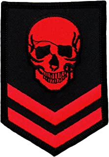 Red Skull Military Patch Embroidered Iron-On Skeleton Brigade Biker Emblem