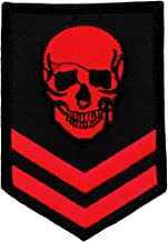 Red Skull Military Patch Embroidered Iron-On Skeleton Brigade Biker Emblem