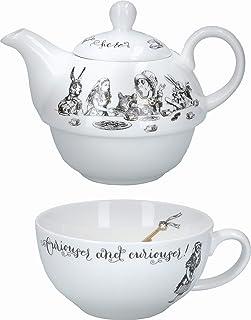V&A Alicja w krainie czarów herbata na jeden czajniczek i kubek zestaw w pudełku upominkowym, delikatna porcelana, biała, ...