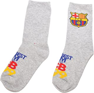 FC Barcelona, Calcetines 100% oficiales del FC Barcelona FCB para niños | Messi Suarez Neymar-UK 8.5-11.5 (EU 27-30)-Diseño 6