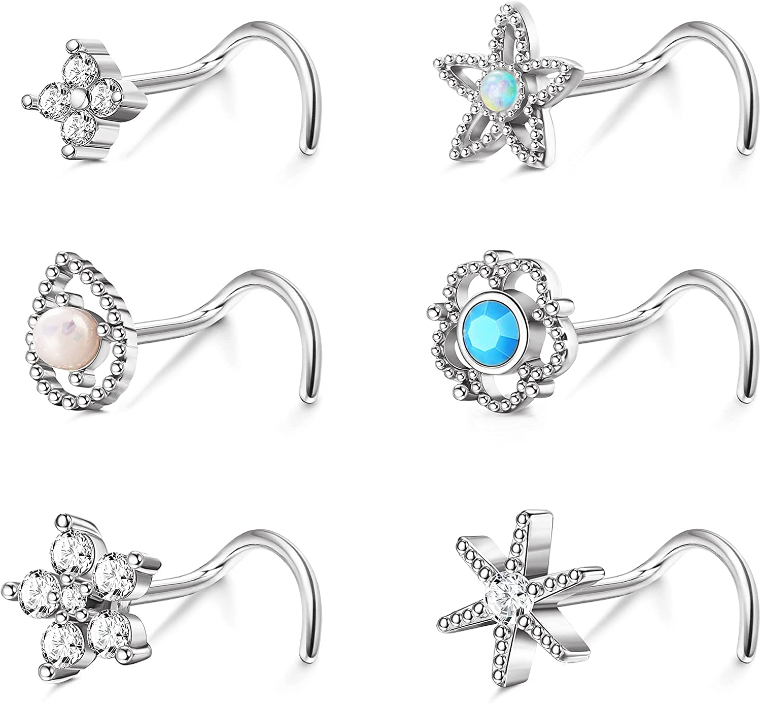 TEN MIRO 6PCs 20G Surgical Steel Nose Rings for Women Men Stud Opal Turquoise 5A CZ Nose Rings L-Shaped Screw Post Nose Stud Star Flower Nose Piercing Jewelry