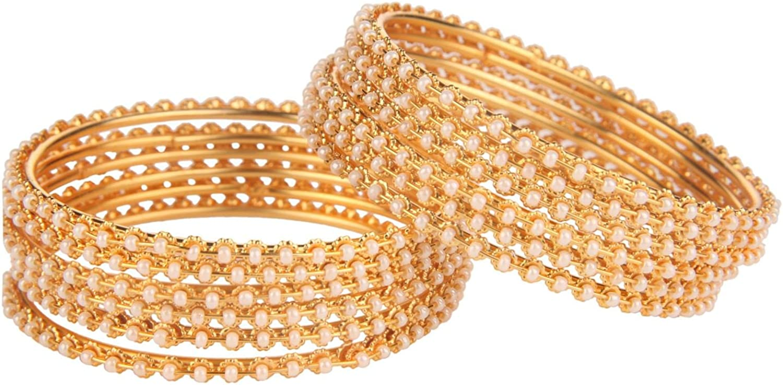 Efulgenz Fashion Jewelry Indian Bollywood 14 K Gold Plated Faux Pearl Beads Bracelets Bangle Set