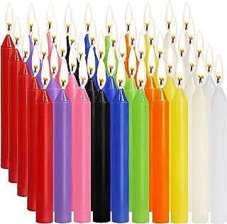 SaiXuan Velas 100 Colores Surtidos de hechizos Velas sin Goteo pequeño para Chimes, Magia, Congregación, vigilia con Vela...