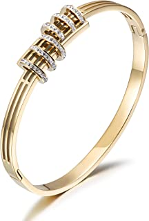CIUNOFOR CZ Bracelet for Women Girls Cross Line Parallel CZ Circle Bracelet Italian Style Buckle Cuff Bangle Silver Gold Rose Gold Plated Stainless Steel Bracelet
