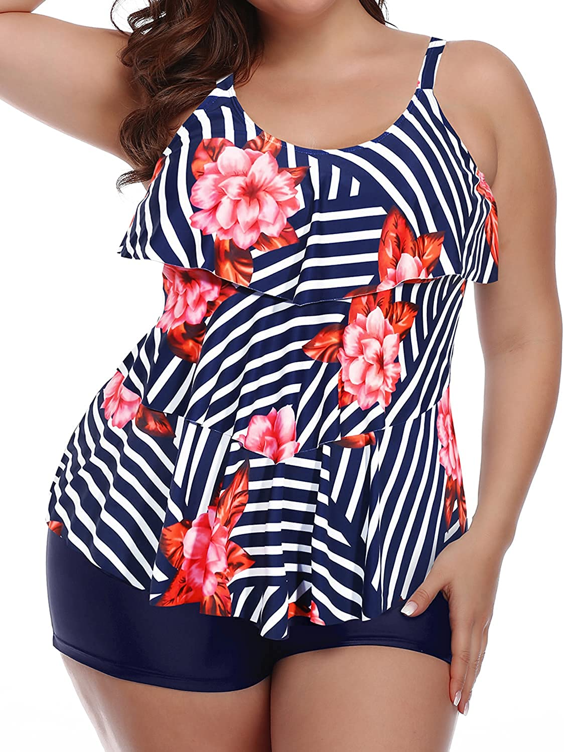 Yonique Womens Plus Size Tankini Swimsuits with Shorts Flounce Two Piece Bathing Suit Floral Printed Swimwear