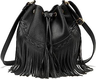 AFKOMST Beuteltasche für Damen, Schultertasche mit Kordelzug und Designer-Damenhandtaschen mit verstellbaren Schultergurte...